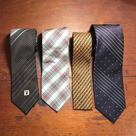 Mixed Brands Other - 4 Men's Vintage Ties, Playboy, Guy Laroche, Others